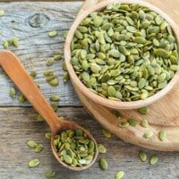Raw pumpkin seeds used for natural deworming of puppies